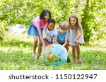 multicultural group of kids... | Shutterstock . vector #1150122947