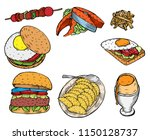 fast food decorative colored... | Shutterstock .eps vector #1150128737