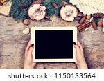 cocoa  coffee  gift  fir branch ... | Shutterstock . vector #1150133564