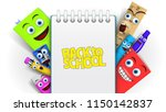 back to school template with... | Shutterstock .eps vector #1150142837