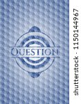 question blue hexagon badge. | Shutterstock .eps vector #1150144967