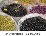Olives at farmers market - stock photo
