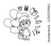 cute school kid ready to... | Shutterstock .eps vector #1150155461