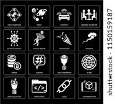 set of 16 icons such as ar...