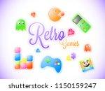 sticker style text retro game...   Shutterstock .eps vector #1150159247