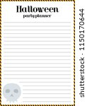 halloween party planner. lined... | Shutterstock .eps vector #1150170644