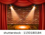 wooden stage with red curtains... | Shutterstock . vector #1150180184
