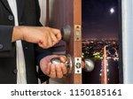 businessman open the door to...   Shutterstock . vector #1150185161