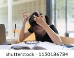 student headache with working... | Shutterstock . vector #1150186784