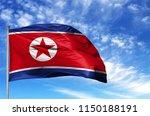 national flag of north korea on ... | Shutterstock . vector #1150188191