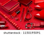 woman red accessories  jewelry  ... | Shutterstock . vector #1150195091