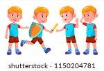 boy kindergarten kid poses set... | Shutterstock .eps vector #1150204781