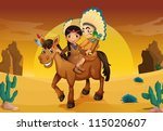 illustration of kids and horse in a desert - stock vector