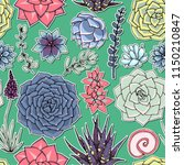 succulents seamless pattern.... | Shutterstock .eps vector #1150210847
