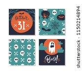 happy halloween greeting card ... | Shutterstock .eps vector #1150214894