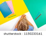 kid with books notebooks... | Shutterstock . vector #1150233161