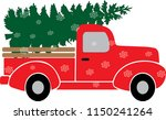 red christmas truck with green... | Shutterstock .eps vector #1150241264