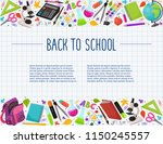 hand drawn school objects in... | Shutterstock .eps vector #1150245557