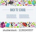 hand drawn school objects in... | Shutterstock .eps vector #1150245557