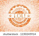 lol  orange mosaic emblem with... | Shutterstock .eps vector #1150245914
