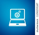 laptop and gears icon isolated... | Shutterstock .eps vector #1150255187
