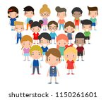 group of children boy and girl  ...   Shutterstock .eps vector #1150261601