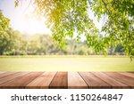 empty wooden table with garden... | Shutterstock . vector #1150264847