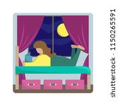 the girl lies on a bed and... | Shutterstock .eps vector #1150265591