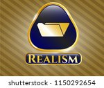 golden emblem with folder icon ... | Shutterstock .eps vector #1150292654