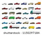 Stock vector vector eps set of car in different type and color pickup van truck side view isolated on 1150297184