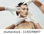 beautician hands in gloves... | Shutterstock . vector #1150298897