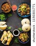 asian assorted food set  dark...   Shutterstock . vector #1150301771