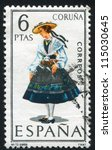 spain   circa 1968  stamp... | Shutterstock . vector #115030645