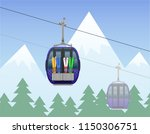 mountain landscape with cabin... | Shutterstock .eps vector #1150306751