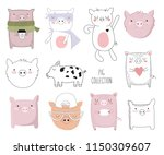 vector collection of cute... | Shutterstock .eps vector #1150309607