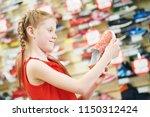 season sale. little girl... | Shutterstock . vector #1150312424