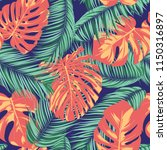 summer exotic floral tropical... | Shutterstock .eps vector #1150316897