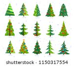 Stock vector christmas trees icon set isolated on white background cute christmas trees with toys and snow new 1150317554