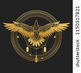 soaring bird of prey. gold... | Shutterstock .eps vector #1150317821