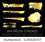 set of golden paint strokes to... | Shutterstock .eps vector #1150320737