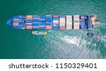 cargo ship carries the... | Shutterstock . vector #1150329401