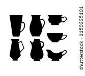 vector crockery set | Shutterstock .eps vector #1150335101