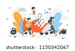 jogging concept. young couple...   Shutterstock .eps vector #1150342067