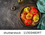 stuffed pepper with minced meat ... | Shutterstock . vector #1150348397