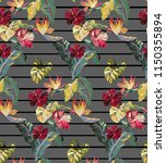 tropical striped pattern with... | Shutterstock .eps vector #1150355894