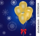 balloon floting and snowflake... | Shutterstock .eps vector #1150358144