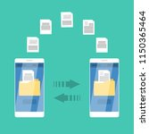 file transfer between mobile... | Shutterstock .eps vector #1150365464