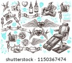 hand drawn vector tattoo studio ... | Shutterstock .eps vector #1150367474