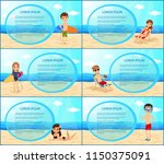 people on the beach. frame set. ... | Shutterstock .eps vector #1150375091