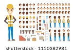 cute male builder character in... | Shutterstock .eps vector #1150382981
